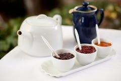 Italiener-Konserven mit Tee Lizenzfreie Stockfotos