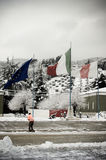 Italienermarkierungsfahne mit 235 ausbildenregiment-Freiwilligern Stockfotos