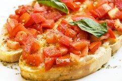 Italienische bruschetta Tomate Stockfotos