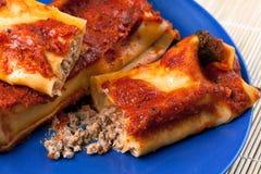 Italienische Cannelloni mit Schweinefleisch Stockfotos