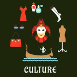 Italienische flache Ikonen der Kultur und der Reise Stockfotos