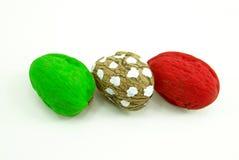 Italienische Flagge mit Walnüssen Stockfotos