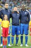 Italienische Fußballspieler singen die Hymne Stockfotografie