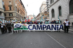 Italienische Gewerkschaften zeigen in Rom Stockfoto