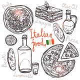 Italienische Hand gezeichnete Lebensmittel-Sammlung Lizenzfreie Stockfotos