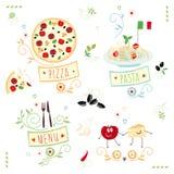 Italienische Küche, Satz der Illustration Stockfoto