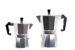Italienische Kaffeemaschine getrennt auf weißem Hintergrund Stockfoto