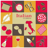 Italienische Küche-Ikonen eingestellt Stockbilder