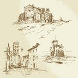 Italienische ländliche Häuser Stockfoto
