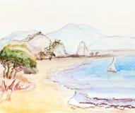 Italienische Landschaft mit Segelboot Lizenzfreie Stockbilder