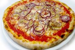 Italienische Lebensmittels Pizza des Pizzathunfischs und onionmozzarela, Schinken vermehrt sich Oliven explosionsartig lizenzfreie stockfotos