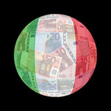 Italienische Markierungsfahne auf Euro Stockbild