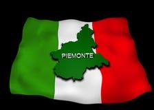 Italienische Markierungsfahne mit der Piedmont-Region Lizenzfreies Stockbild