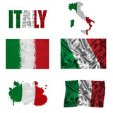 Italienische Markierungsfahnencollage Stockbilder