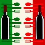 Italienische Menüschablone über einer Markierungsfahne von Italien Stockfotografie