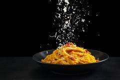 Italienische Nahrung Teigwaren carbonara stockfotos