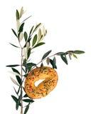 Italienische Palmsonntags-Tradition - Kuchen und Olive, für die Segnung Lizenzfreies Stockbild