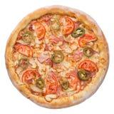 Italienische Pizza, Draufsicht, lokalisiert auf dem weißen Hintergrund lokalisiert Stockfotografie