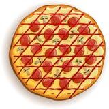 Italienische Pizza mit Pepperonis und Pilzen lizenzfreie abbildung
