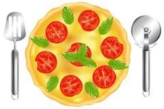 Italienische Pizza mit Pizza-spachtel. Vektor lizenzfreie abbildung