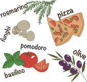 Italienische Pizzakomponenten-Vektorillustration Stockfotos