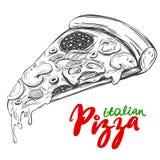 Italienische Pizzascheibe, Pizzadesignschablone, der Vektor-Illustration des Logos Hand gezeichnete realistische Skizze Stockfoto