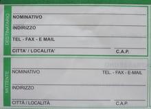 Italienische Postform Lizenzfreie Stockfotos