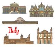 Italienische Reisemarksteine von Künsten und von Religion lizenzfreie abbildung