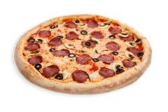 Italienische Salami-Pizza Lizenzfreies Stockfoto