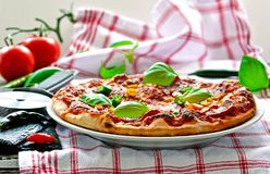 Italienische Salamipizza mit Basilikum lizenzfreie stockfotos
