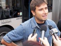 Italienischer Abgeordneter von Movimento 5 Stelle, Alessandro Di Battista, in Triest Lizenzfreie Stockfotos