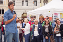 Italienischer Abgeordneter von Movimento 5 Stelle, Alessandro Di Battista, in Triest Lizenzfreies Stockfoto