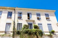 Italienischer Balkon der schönen Weinlese mit grünen Blumen Stockfotos