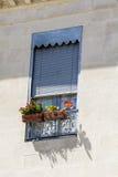 Italienischer Balkon der schönen Weinlese mit Topfblumen Stockfotografie
