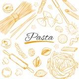 Italienischer Teigwarenrahmen Verschiedene Typen von Teigwaren Vektorhand gezeichnete Abbildung lizenzfreie abbildung