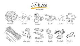 Italienischer Teigwarensatz Verschiedene Typen von Teigwaren Vektorhand gezeichnete Abbildung Laptop- und Blinkenleuchte Stockbilder