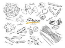 Italienischer Teigwarensatz Verschiedene Typen von Teigwaren Vektorhand gezeichnete Abbildung Lokalisierte Gegenstände auf Weiß lizenzfreie abbildung