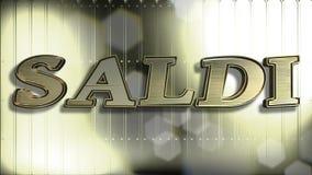 Italienischer Text des Verkaufs-Gold3d stockfotografie
