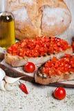 Italienisches bruschetta mit Tomaten Lizenzfreies Stockfoto