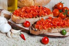 Italienisches bruschetta mit Tomaten Lizenzfreie Stockfotografie