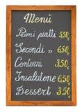 Italienisches Gaststättemenü chalkb Stockfotografie