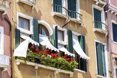 Italienisches Gebäude der schönen Weinlese mit Topfblumen Stockbild