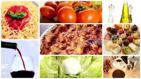 Italienisches Lebensmittel, Collage stock video