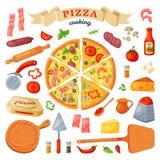Italienisches Lebensmittel des Pizzavektors mit Käse und Tomate im Pizzeria- oder pizzahouseillustrationssatz der gebackenen Tort Stockbilder