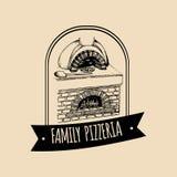 Italienisches Lebensmittellogo des Vektorweinlesehippies Modernes Pizzazeichen Hand gezeichnete Mittelmeerkücheillustration Stockfotos
