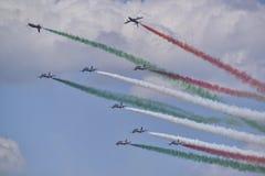Italienisches Luftfahrtteam frecce tricolori Lizenzfreies Stockfoto