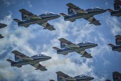 Italienisches Luftfahrtteam frecce tricolori Lizenzfreie Stockfotos
