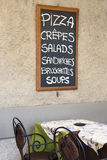Italienisches Menürestaurant Stockfotografie