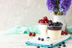 Italienisches Nachtisch pana cota mit Beerenmarmelade und frischen Blaubeeren Stockfotografie