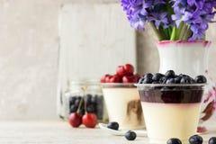 Italienisches Nachtisch pana cota mit Beerenmarmelade und frischen Blaubeeren Lizenzfreie Stockbilder